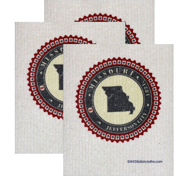Swedish Dishcloth Set Of 3 Each Swedish Dishcloth Badge Design - Missouri - 3
