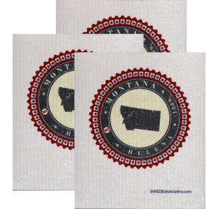 Swedish Dishcloth Set of 3 each Swedish Dishcloth Badge Design - Montana