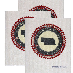 Swedish Dishcloth Set of 3 each Swedish Dishcloth Badge Design - Nebraska