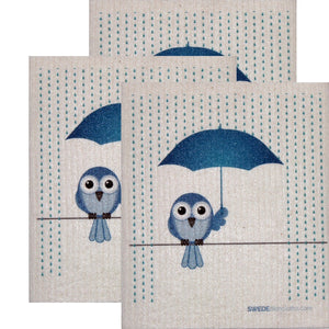 Swedish Dishcloth Set of 3 each Swedish Dishcloths Bluebird in Rain Design