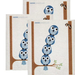Swedish Dishcloth Set Of 3 Each Swedish Dishcloths Bluebirds In Tree Design - 3