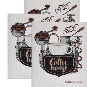 Swedish Dishcloth Set Of 3 Each Swedish Dishcloths Coffeehouse Design - 3