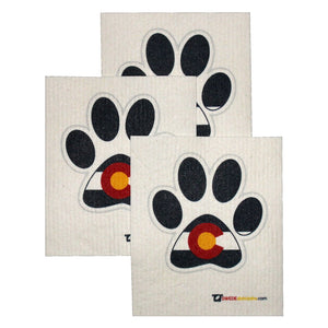 Swedish Dishcloth Set of 3 each Swedish Dishcloths - Colorado Dog Paw