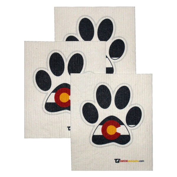 Swedish Dishcloth Set Of 3 Each Swedish Dishcloths - Colorado Dog Paw - 3