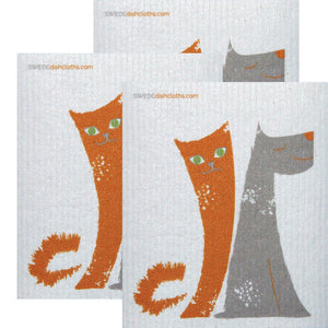 Swedish Dishcloth Set Of 3 Each Swedish Dishcloths Dog/cat Friends Design - 3