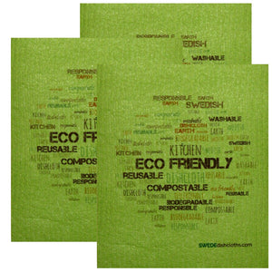 Swedish Dishcloth Set Of 3 Each Swedish Dishcloths Eco Wordcloud On Green Design - 3