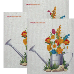 Swedish Dishcloth Set of 3 each Swedish Dishcloths Flowers in Pail Design