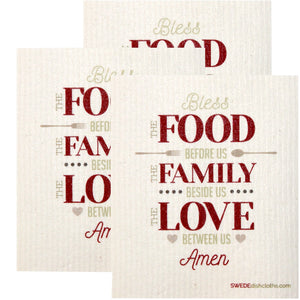 Swedish Dishcloth Set of 3 each Swedish Dishcloths Food-Family-Love Design