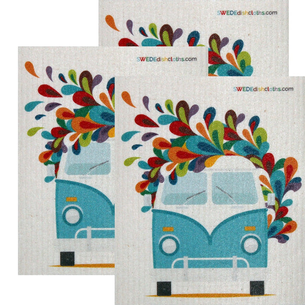 Swedish Dishcloth  Set of 3 each Swedish Dishcloths Hippie Bus Design