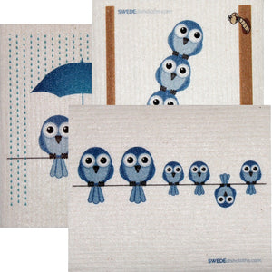 Swedish Dishcloth Set Of 3 Each Swedish Dishcloths Mixed Bluebirds Design - 3