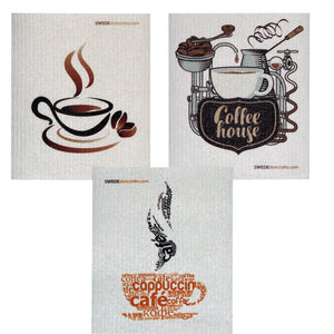 Swedish Dishcloth Set of 3 each Swedish Dishcloths Mixed Coffee Design