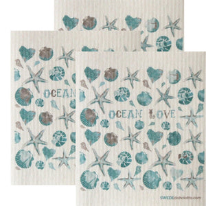 Swedish Dishcloth Set of 3 each Swedish Dishcloths Ocean Love Design