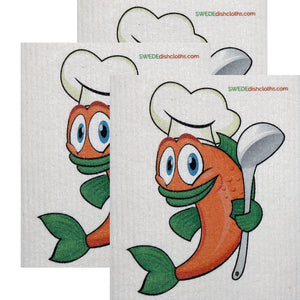 Swedish Dishcloth  Set of 3 each Swedish Dishcloths Orange Fish Chef Design