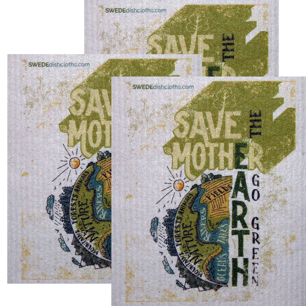 Swedish Dishcloth Set Of 3 Each Swedish Dishcloths Save Mother Earth Design - 3