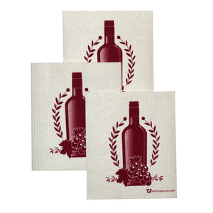 Swedish Dishcloth Set Of 3 Each Swedish Dishcloths With Off The Vine Design - 3
