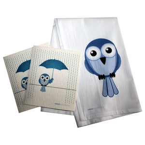 Swedish Dishcloth/floursack Towel Set 2 Each Bluebird In Rain With 28X29 100% Cotton - 99