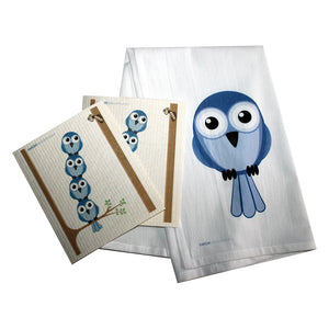 Swedish Dishcloth/floursack Towel Set 2 Each Bluebirds In Tree With 28X29 100% Cotton - 99