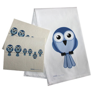 Swedish Dishcloth/plain Weave Kitchen Towel Set 2 Each Bluebirds On Wire 17X30 100% Cotton - 99