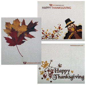 Thanksgiving Trio Set of 3 each Swedish Dishcloths | ECO Friendly Absorbent Cleaning Cloth | Reusable Cleaning Wipes