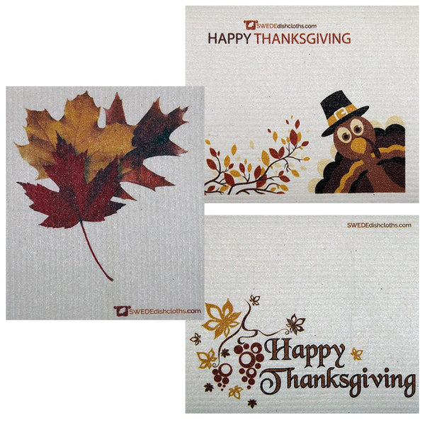 Thanksgiving Trio Set Of 3 Each Swedish Dishcloths | Eco Friendly Absorbent Cleaning Cloth | Reusable Cleaning Wipes - 3