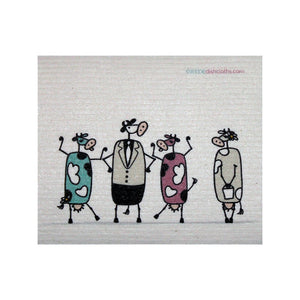 Wedish Dishcloth One Swedish Dishcloth Fun Cows Chatting Design - 1