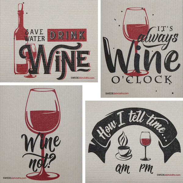 Wine Time Sayings Set Of 4 Each Swedish Dishcloths | Eco Friendly Absorbent Cleaning Cloth | Reusable Cleaning Wipes - 4