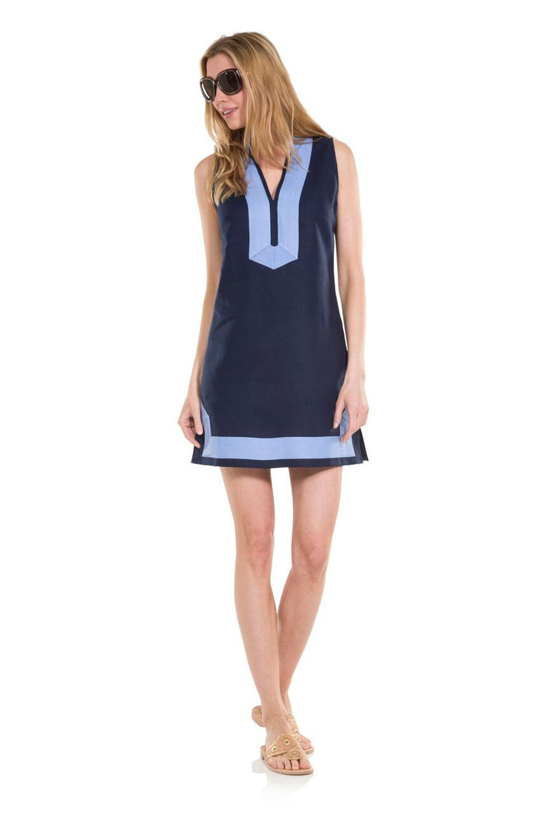 Classic Sleeveless Linen Tunic- Navy