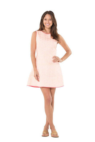 Sail to Sable Fit and Flare Jacquard Dress- Melon