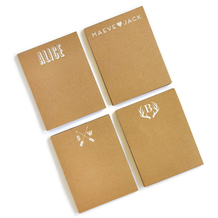 Personalized Kraft Note Pads - Household Combo