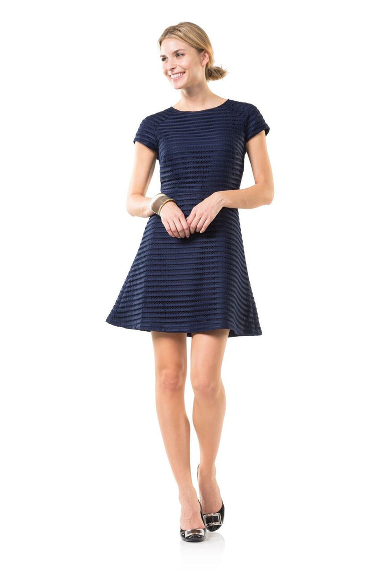 Mesh on Madison Flare Dress- Sail to Sable
