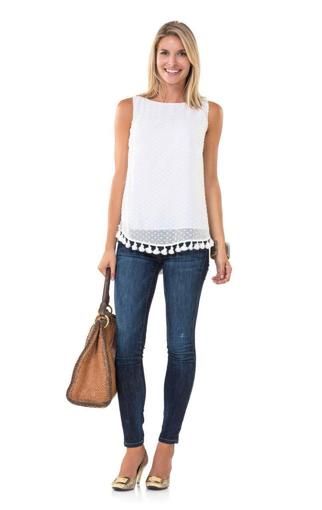 Swiss Dot Sleeveless Top with Tassles- White