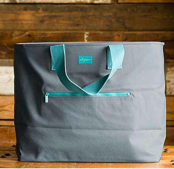 Waxed Cotton Tote Bag with Custom Monogram