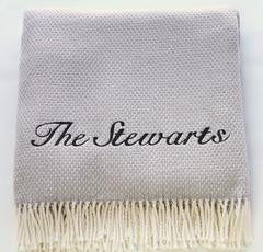 Personalized Fringed Cotton Blend Throw