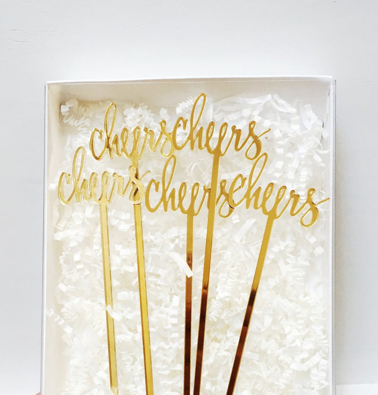 Cocktail Stirrers & Cake Toppers - Gold Mirrored Acrylic