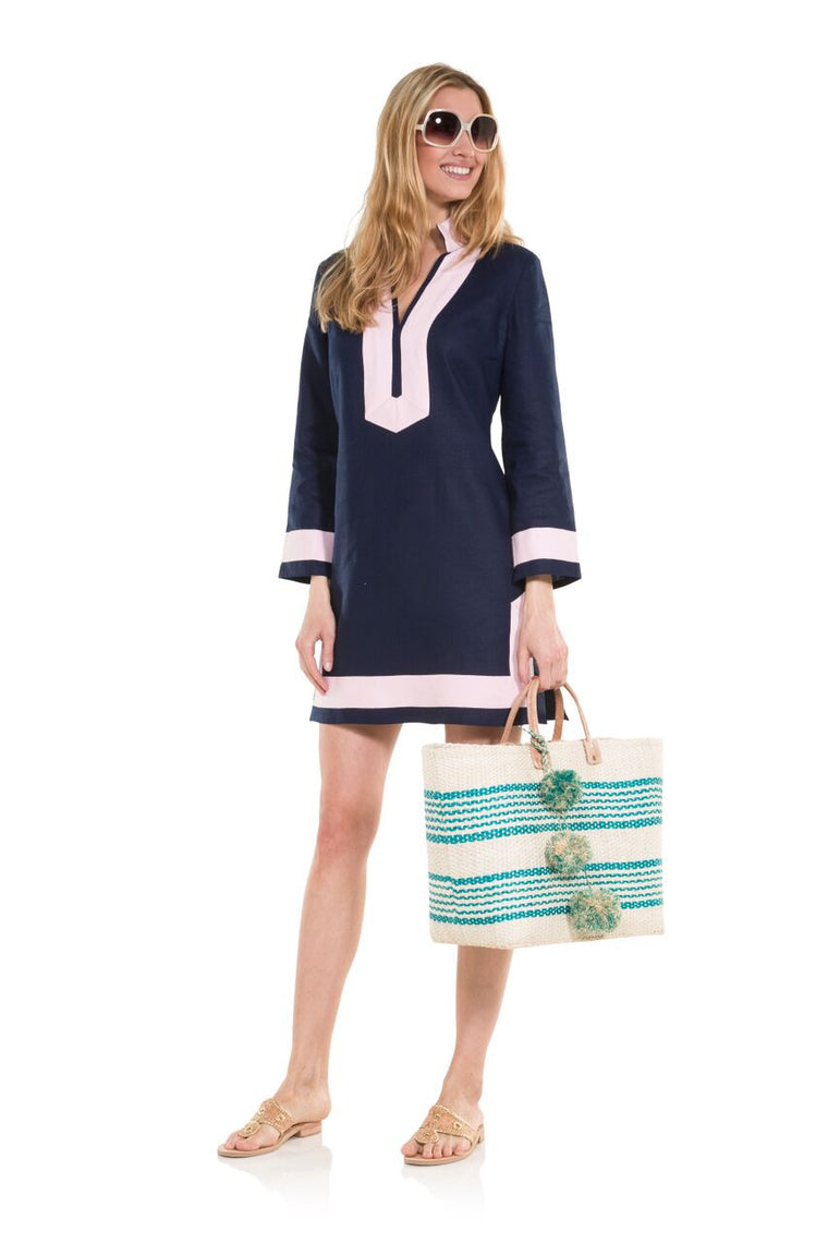 Classic Long Sleeve Linen Tunic Dress- Navy