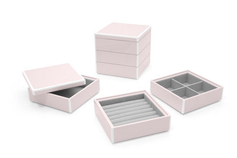 Swing Design Elle Lacquer 3 Stacking Boxes- Soft Pink