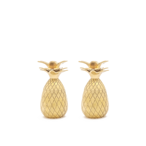 Brass pineapple shot glasses - set of 2, gold