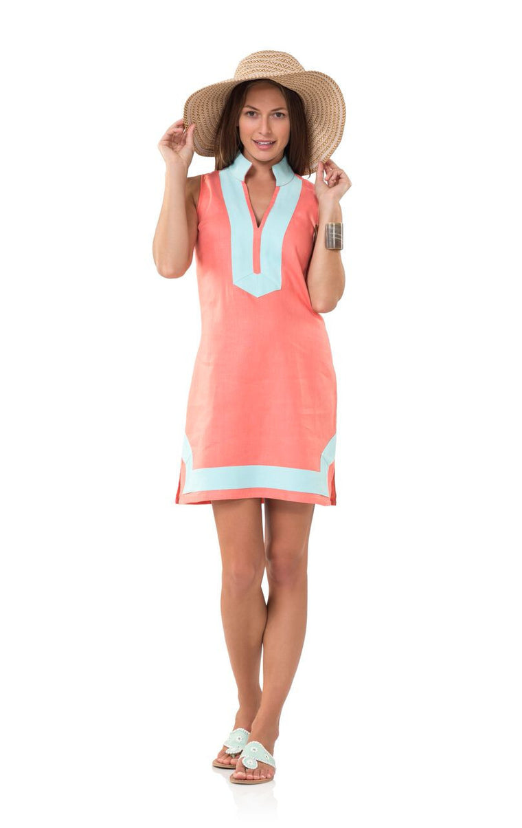 Classic Sleeveless Linen Tunic Dress- Melon