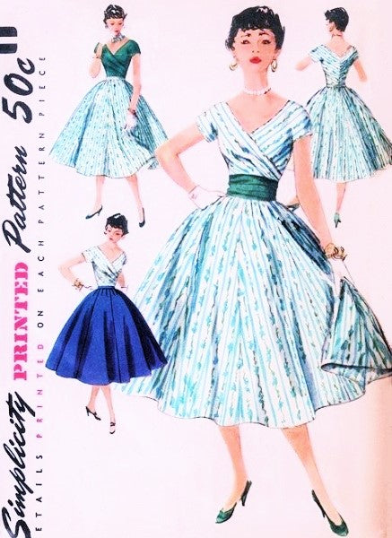 037715ddcd3 SIMPLICITY 1123 LOVELY 1950s Day or Party Cocktail Dress Pattern Rockabilly  V Neckline Surplice Top