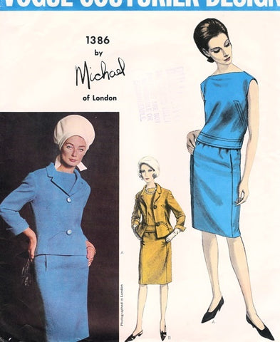 CLASSY 1960s Michael of London Designer Pattern Suit and Over Blouse Vogue Couturier Pattern 1386 Bust 34