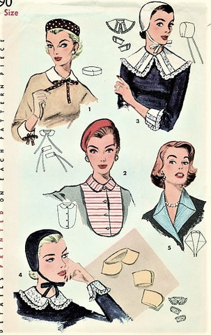 50s CHARMING Simplicity 1390 Hats, Collars Cuffs and Dickey Pattern Beret, Pill Box, Baby Style Hat Includes Peter Pan Collar Wonderful Accessories Pattern Simplicity 1390 Vintage Sewing Pattern