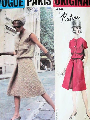 60s STYLISH Patou Dress Pattern VOGUE PARIS Original 1444 Shaped Blouson Top a Line Skirt, Front Inverted Pleat Vintage Couture Sewing Pattern Bust 31
