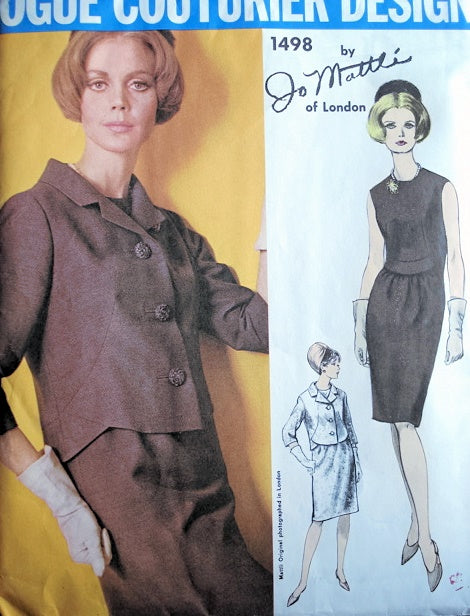 60s CLASSY Jo Mattli Slim Dress and Jacket Pattern VOGUE COUTURIER DESIGN 1498 Elegant Day or Cocktail Party Evening Dress Bust 32 Vintage Sewing Pattern + Label