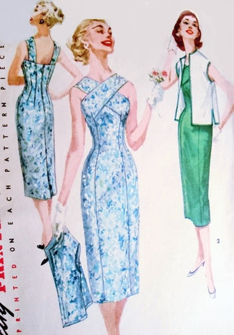 50s BOMBSHELL Cocktail Evening or Day Sun Dress and Jacket Pattern SIMPLICITY 1619 Princess Line Sheath Flirty Criss Cross Front Neckline Strappy Back Fifties Bombshell Dress Bust 30 Vintage Sewing Pattern