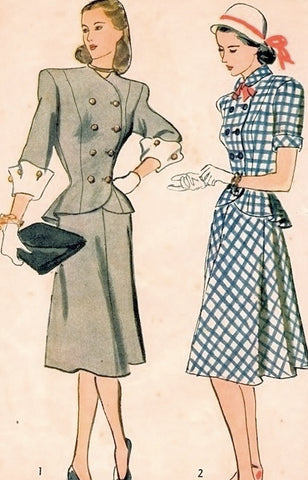 40s SNAPPY Forties Suit Pattern SIMPLICITY 1866 Princess Peplum Jacket Turned Back Cuffs,Flared Skirt Bust 29 Vintage Sewing Pattern