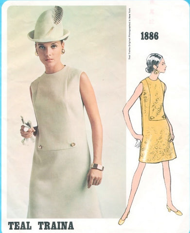 60s Mod Sixties Teal Traina Designer Dress Pattern Vogue Americana 1886 Loose Fitting a Line Jewel Neckline Dress Bust 36 Vintage Sewing Pattern