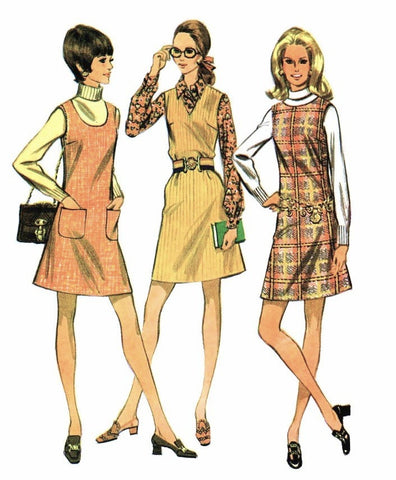 McCalls 2070 RETRO 1960s Mod Jumper Pattern Three Necklines Bust 38 Vintage Sewing Pattern UNCUT