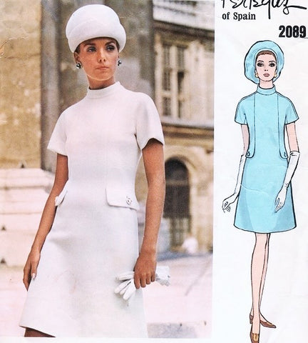 1960s MOD Dress Pattern VOGUE COUTURIER DESIGN 2089 PERTEGAZ Bust 34 Vintage Sewing Pattern