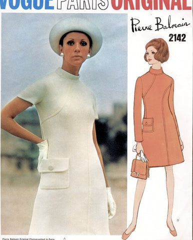 1960s Pierre Balmain Dress Pattern VOGUE PARIS Original 2142 Eye Catching Seam Interest Design Bust 32 Vintage Sewing Pattern FACTORY FOLDED