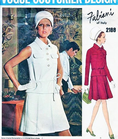 60s FABIANI 2 Pc Dress Pattern VOGUE COUTURIER Design 2180 Pleated Skirt, Loose Fitting Top Patch Pockets Cute 2 Pc Dress Bust 36 Vintage Sewing Pattern